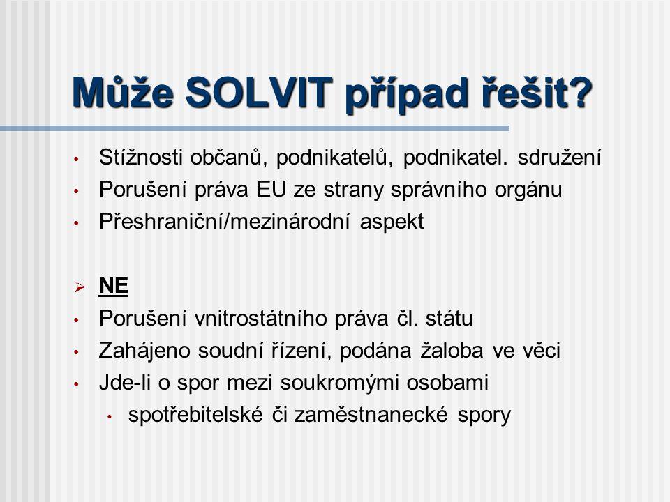 Může SOLVIT případ řešit. Stížnosti občanů, podnikatelů, podnikatel.