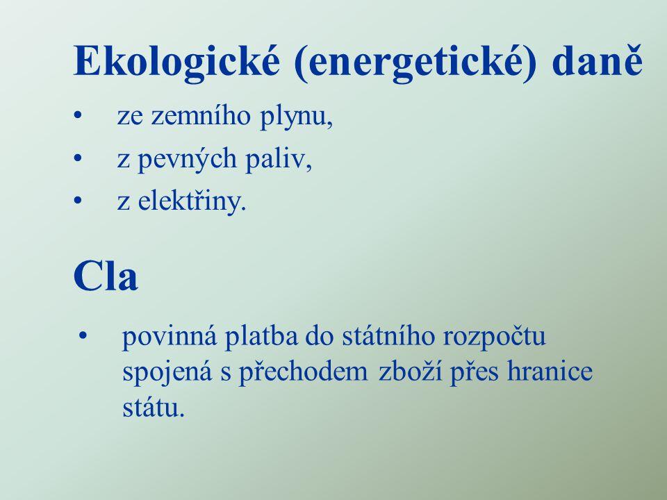 Ekologické (energetické) daně ze zemního plynu, z pevných paliv, z elektřiny.