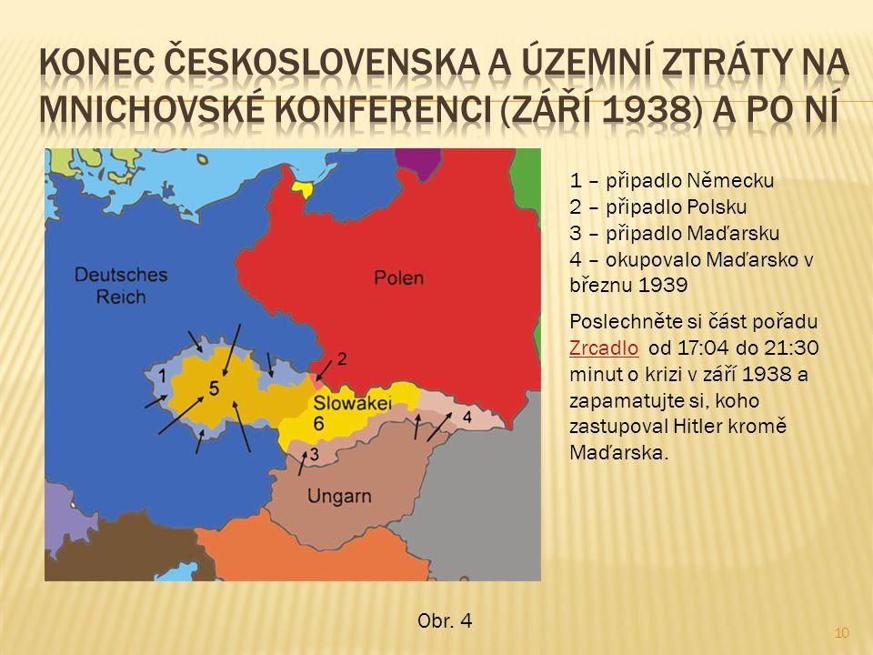 10 1 – připadlo Německu 2 – připadlo Polsku 3 – připadlo Maďarsku 4 – okupovalo Maďarsko v březnu 1939 Poslechněte si část pořadu Zrcadlo od 17:04 do 21:30 minut o krizi v září 1938 a zapamatujte si, koho zastupoval Hitler kromě Maďarska.