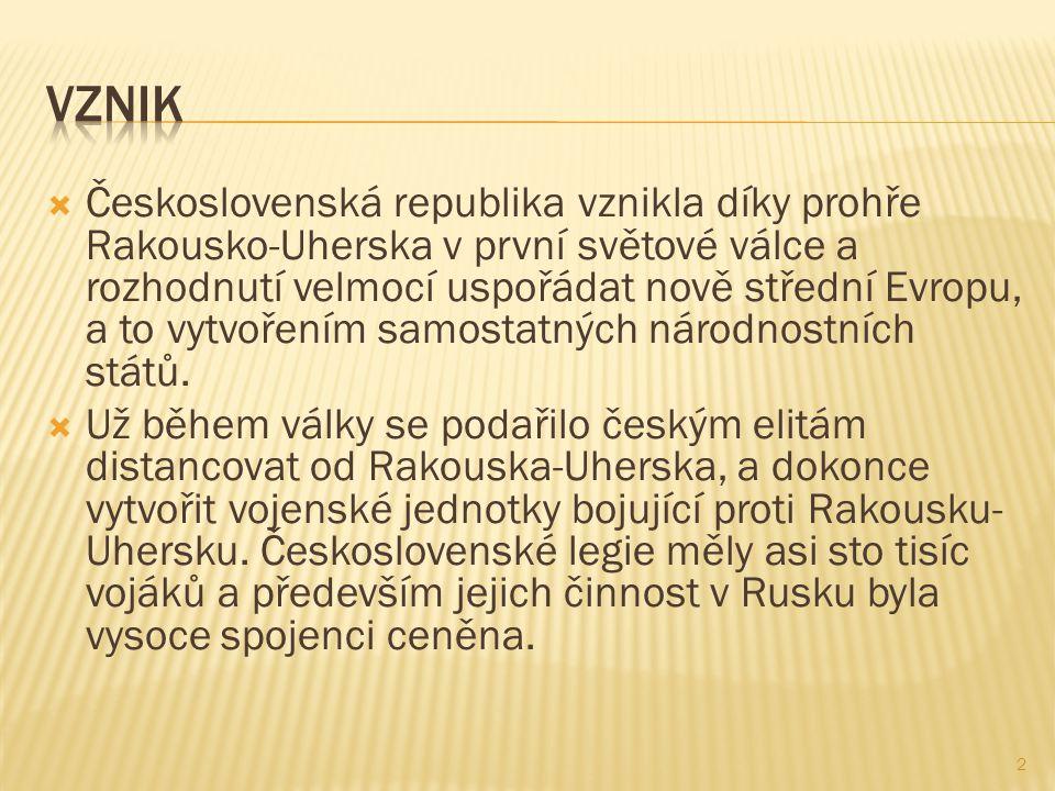  Kromě kompaktního území Čech, které díky horám nikdy neřešilo svůj rozsah, připadla novému státu Morava, část Slezska, Slovensko a později Podkarpatská Rus.