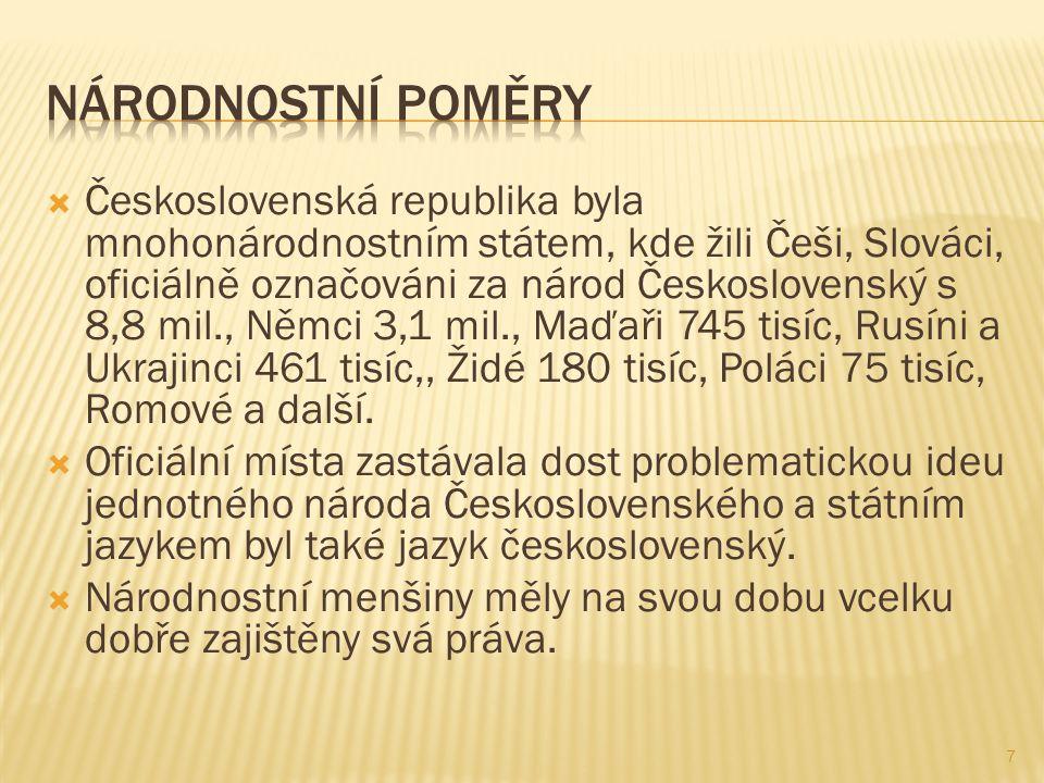  Československá republika byla mnohonárodnostním státem, kde žili Češi, Slováci, oficiálně označováni za národ Československý s 8,8 mil., Němci 3,1 mil., Maďaři 745 tisíc, Rusíni a Ukrajinci 461 tisíc,, Židé 180 tisíc, Poláci 75 tisíc, Romové a další.