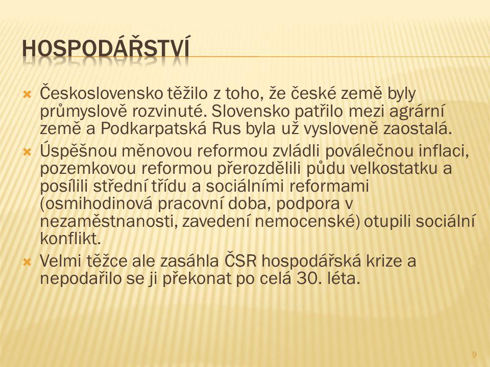  Československo těžilo z toho, že české země byly průmyslově rozvinuté.