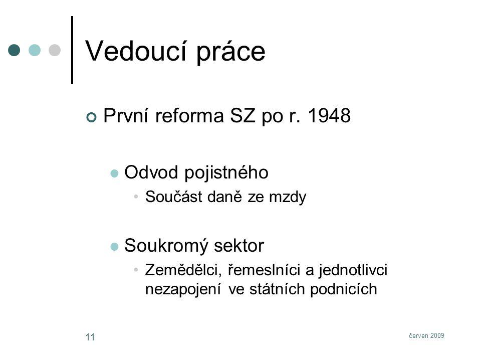 červen 2009 11 Vedoucí práce První reforma SZ po r.