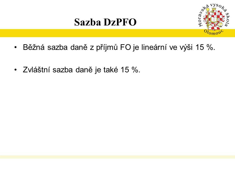 Sazba DzPFO Běžná sazba daně z příjmů FO je lineární ve výši 15 %. Zvláštní sazba daně je také 15 %.