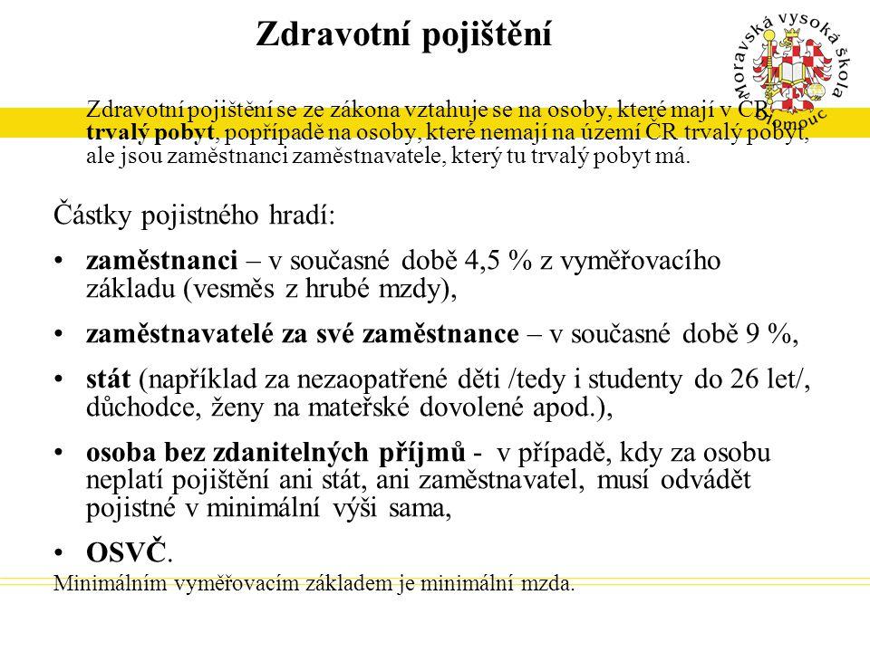 Zdravotní pojištění Zdravotní pojištění se ze zákona vztahuje se na osoby, které mají v ČR trvalý pobyt, popřípadě na osoby, které nemají na území ČR