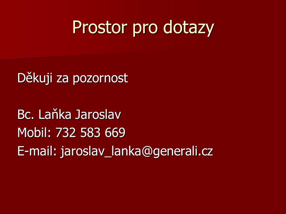 Prostor pro dotazy Děkuji za pozornost Bc. Laňka Jaroslav Mobil: 732 583 669 E-mail: jaroslav_lanka@generali.cz