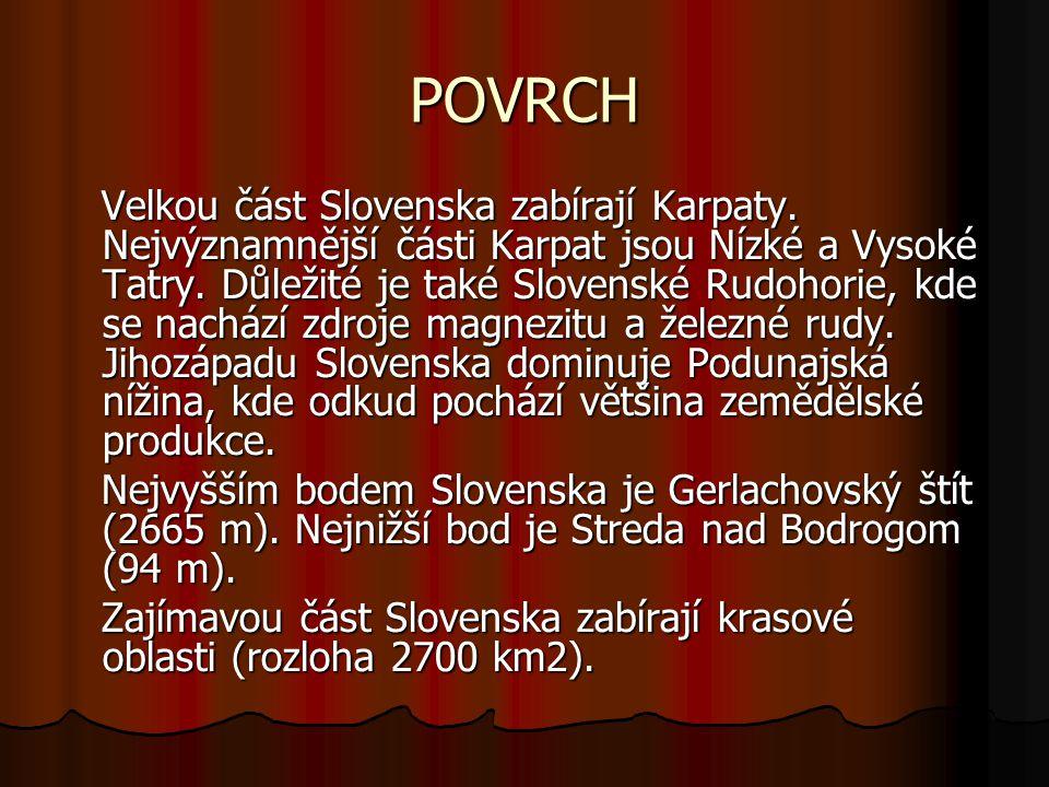 POVRCH Velkou část Slovenska zabírají Karpaty.