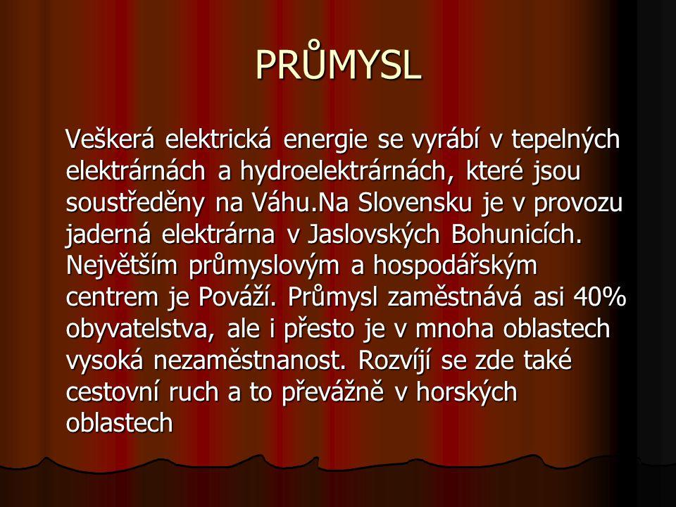 PRŮMYSL Veškerá elektrická energie se vyrábí v tepelných elektrárnách a hydroelektrárnách, které jsou soustředěny na Váhu.Na Slovensku je v provozu jaderná elektrárna v Jaslovských Bohunicích.