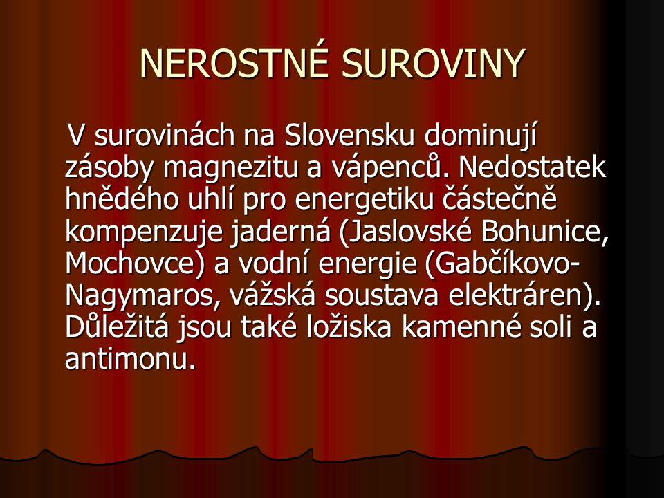 NEROSTNÉ SUROVINY V surovinách na Slovensku dominují zásoby magnezitu a vápenců.