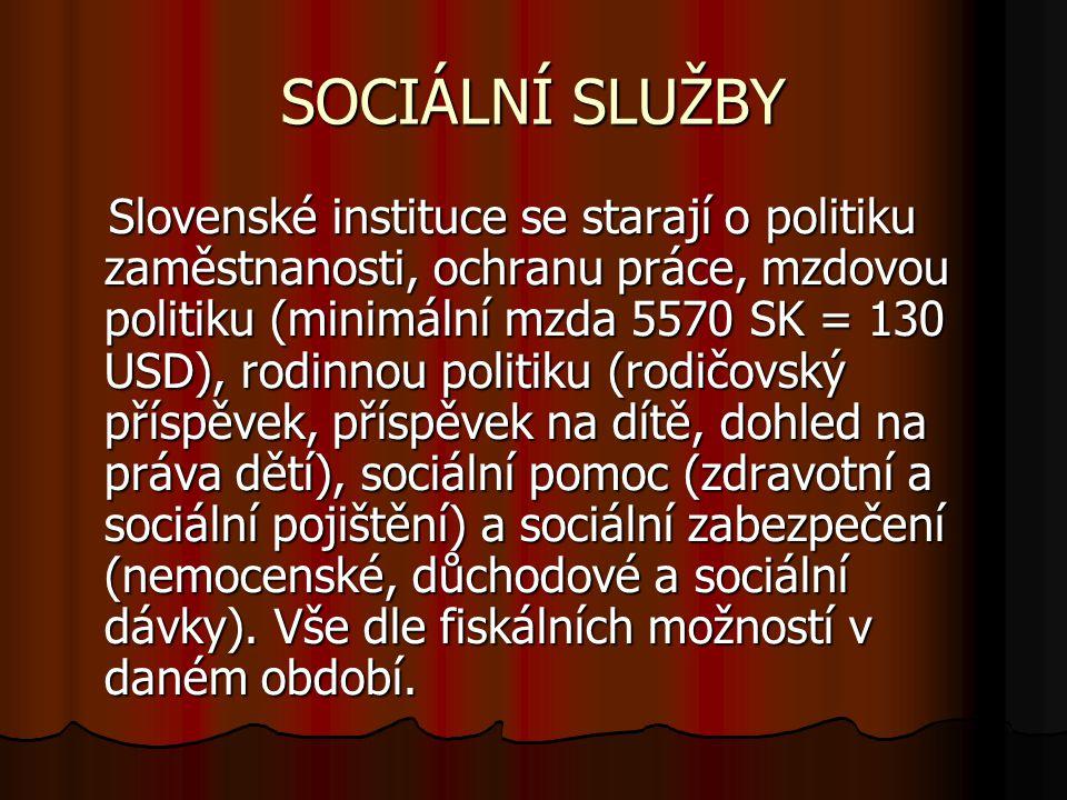 SOCIÁLNÍ SLUŽBY Slovenské instituce se starají o politiku zaměstnanosti, ochranu práce, mzdovou politiku (minimální mzda 5570 SK = 130 USD), rodinnou politiku (rodičovský příspěvek, příspěvek na dítě, dohled na práva dětí), sociální pomoc (zdravotní a sociální pojištění) a sociální zabezpečení (nemocenské, důchodové a sociální dávky).