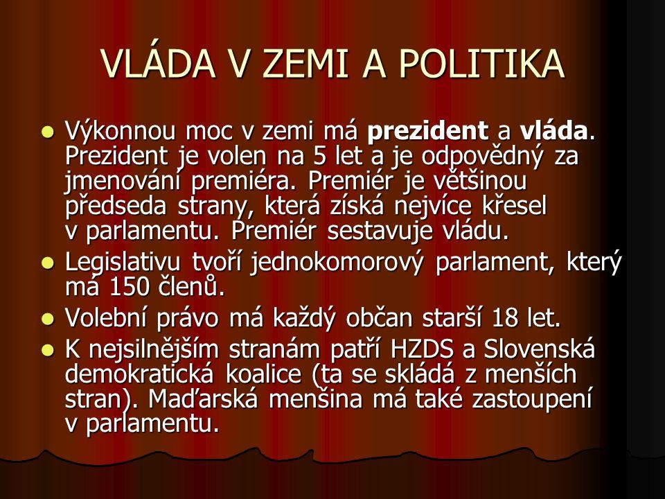 VLÁDA V ZEMI A POLITIKA Výkonnou moc v zemi má prezident a vláda.