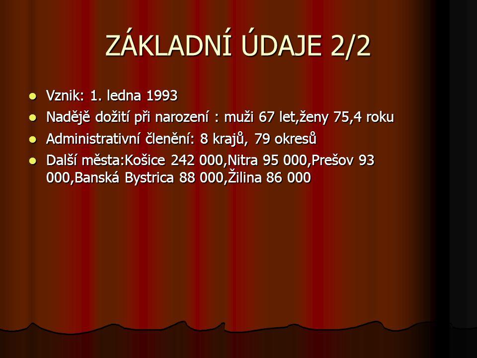 ZÁKLADNÍ ÚDAJE 2/2 Vznik: 1.ledna 1993 Vznik: 1.