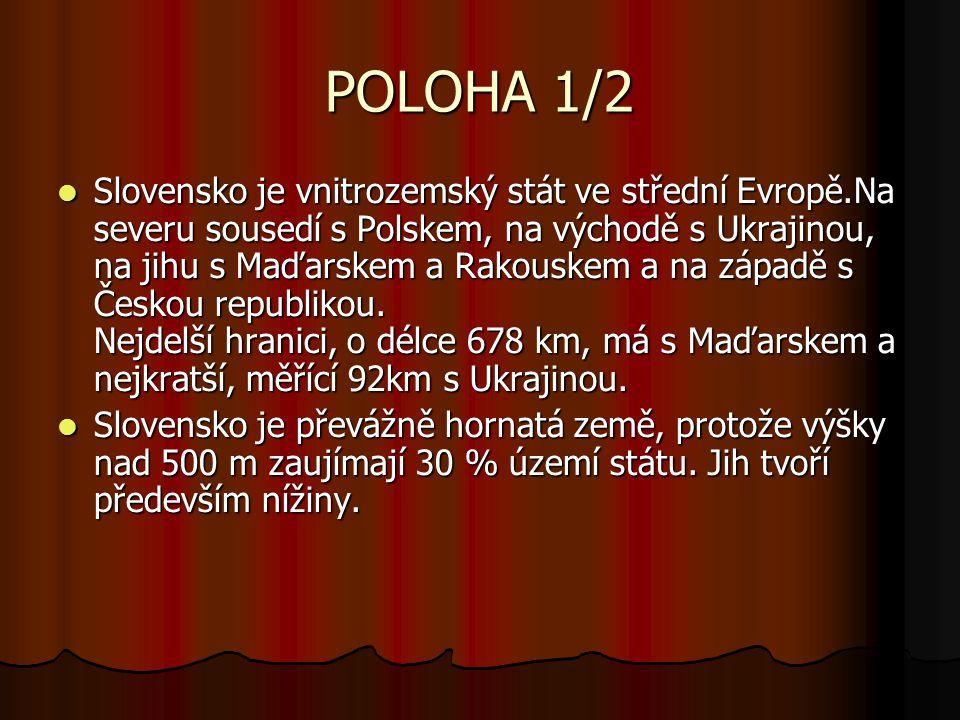POLOHA 1/2 Slovensko je vnitrozemský stát ve střední Evropě.Na severu sousedí s Polskem, na východě s Ukrajinou, na jihu s Maďarskem a Rakouskem a na západě s Českou republikou.