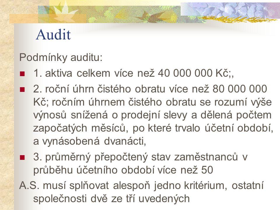 Audit Podmínky auditu: 1. aktiva celkem více než 40 000 000 Kč;, 2. roční úhrn čistého obratu více než 80 000 000 Kč; ročním úhrnem čistého obratu se