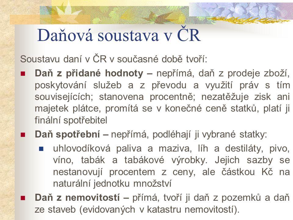 Daňová soustava v ČR Soustavu daní v ČR v současné době tvoří: Daň z přidané hodnoty – nepřímá, daň z prodeje zboží, poskytování služeb a z převodu a