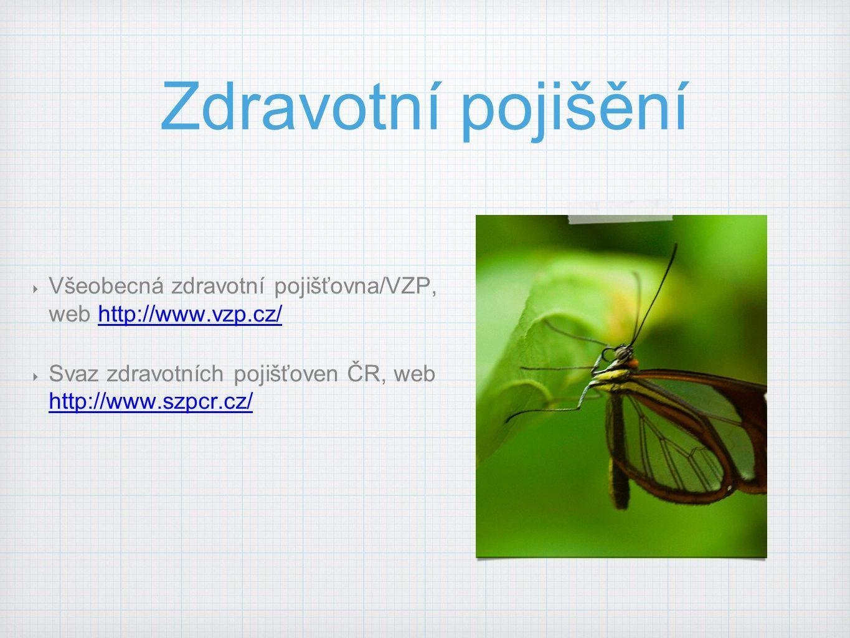 Zdravotní pojišění  Všeobecná zdravotní pojišťovna/VZP, web http://www.vzp.cz/http://www.vzp.cz/  Svaz zdravotních pojišťoven ČR, web http://www.szp