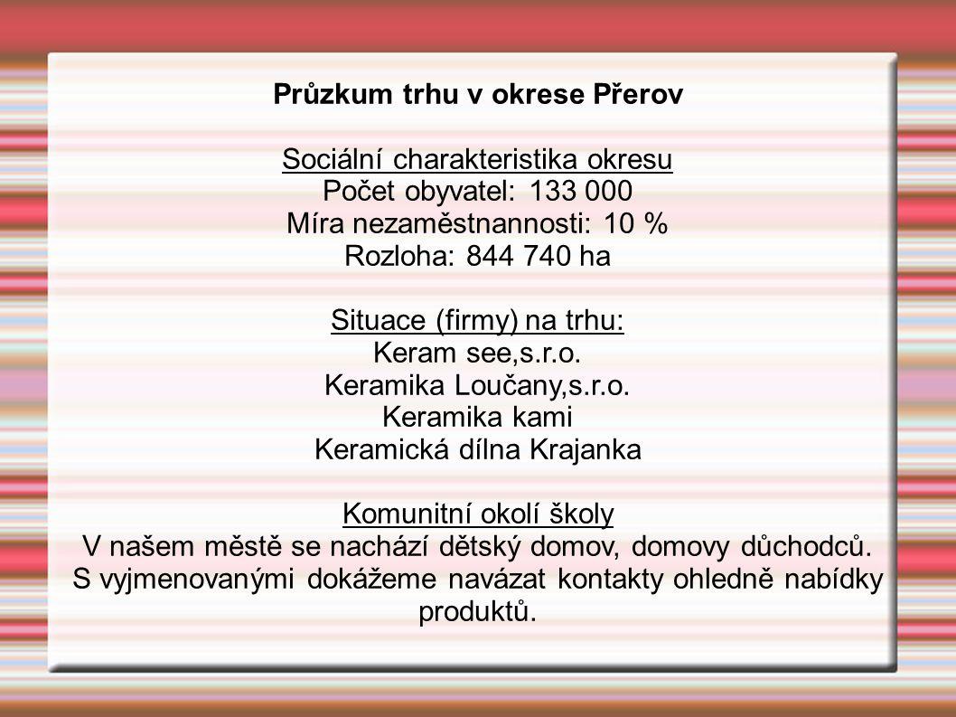 Průzkum trhu v okrese Přerov Sociální charakteristika okresu Počet obyvatel: 133 000 Míra nezaměstnannosti: 10 % Rozloha: 844 740 ha Situace (firmy) na trhu: Keram see,s.r.o.