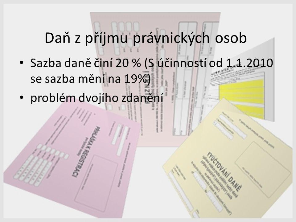 Daň z příjmu právnických osob Sazba daně činí 20 % (S účinností od 1.1.2010 se sazba mění na 19%) problém dvojího zdanění