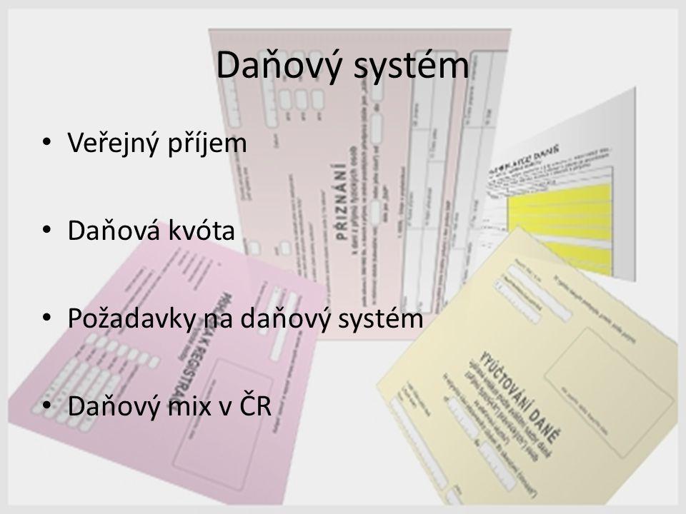 Daňový systém Veřejný příjem Daňová kvóta Požadavky na daňový systém Daňový mix v ČR