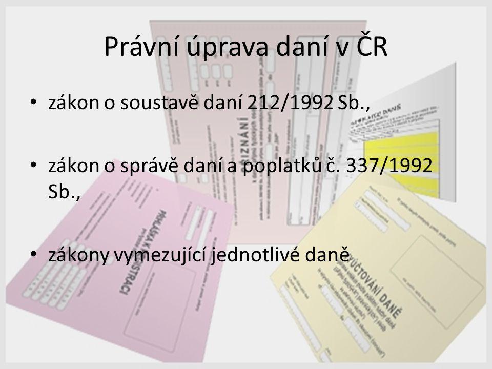Právní úprava daní v ČR zákon o soustavě daní 212/1992 Sb., zákon o správě daní a poplatků č. 337/1992 Sb., zákony vymezující jednotlivé daně