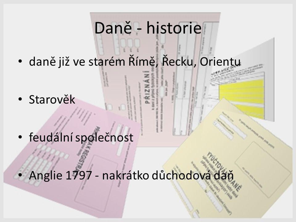 Daně - historie daně již ve starém Římě, Řecku, Orientu Starověk feudální společnost Anglie 1797 - nakrátko důchodová daň