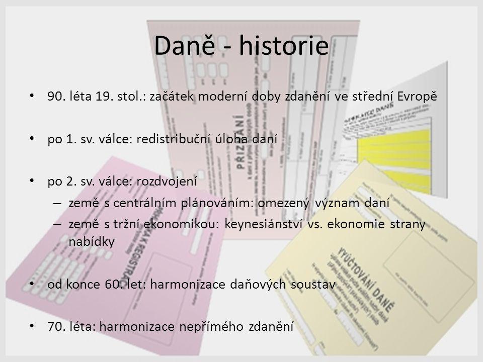 Daně - historie 90. léta 19. stol.: začátek moderní doby zdanění ve střední Evropě po 1. sv. válce: redistribuční úloha daní po 2. sv. válce: rozdvoje