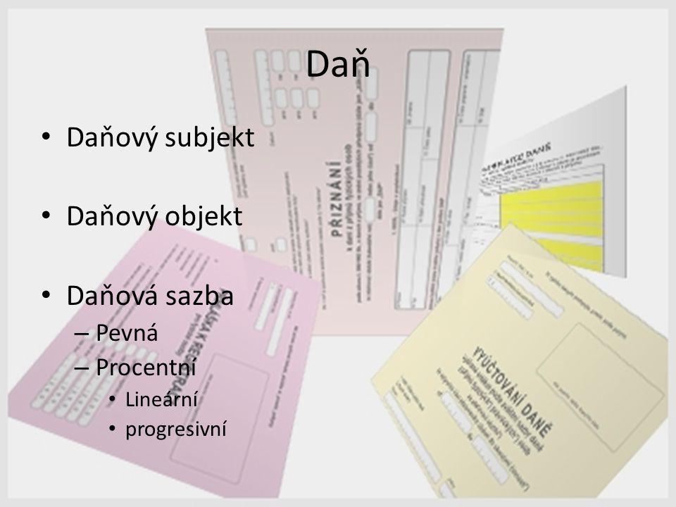 Daň Daňový subjekt Daňový objekt Daňová sazba – Pevná – Procentní Lineární progresivní