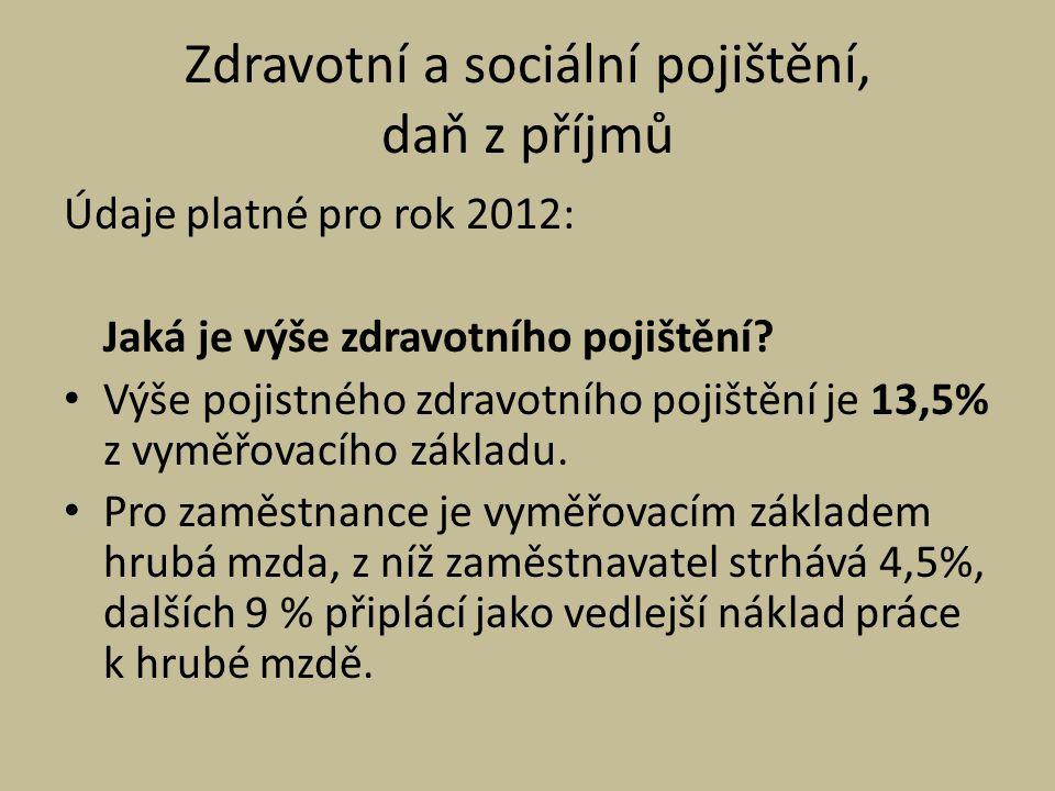 Zdravotní a sociální pojištění, daň z příjmů Údaje platné pro rok 2012: Jaká je výše zdravotního pojištění.
