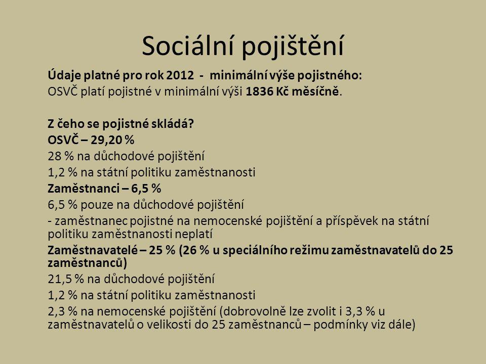 Sociální pojištění Údaje platné pro rok 2012 - minimální výše pojistného: OSVČ platí pojistné v minimální výši 1836 Kč měsíčně.