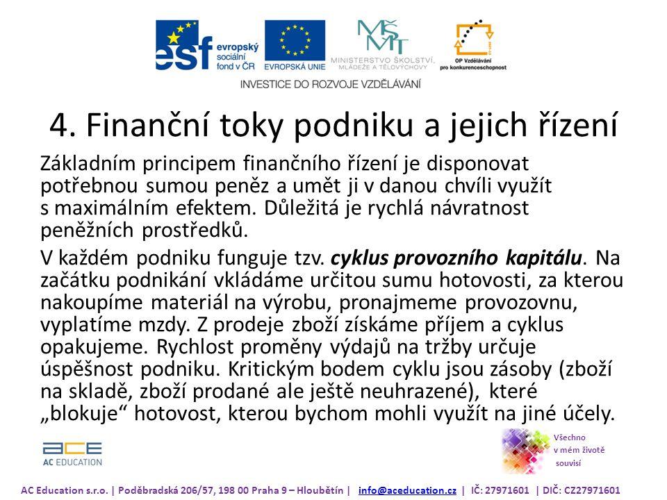 4. Finanční toky podniku a jejich řízení Základním principem finančního řízení je disponovat potřebnou sumou peněz a umět ji v danou chvíli využít s m