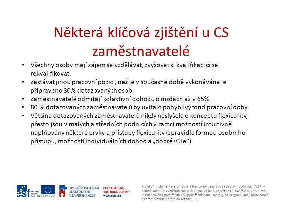 Některá klíčová zjištění u CS zaměstnavatelé Projekt