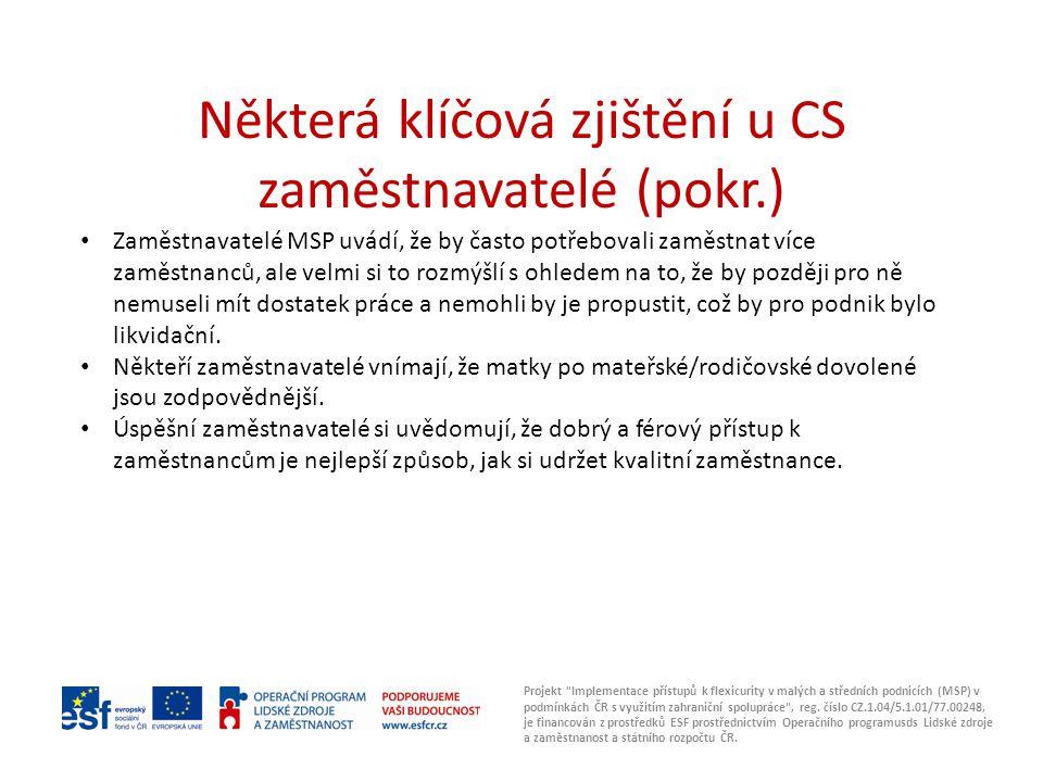 Některá klíčová zjištění u CS zaměstnavatelé (pokr.) Projekt