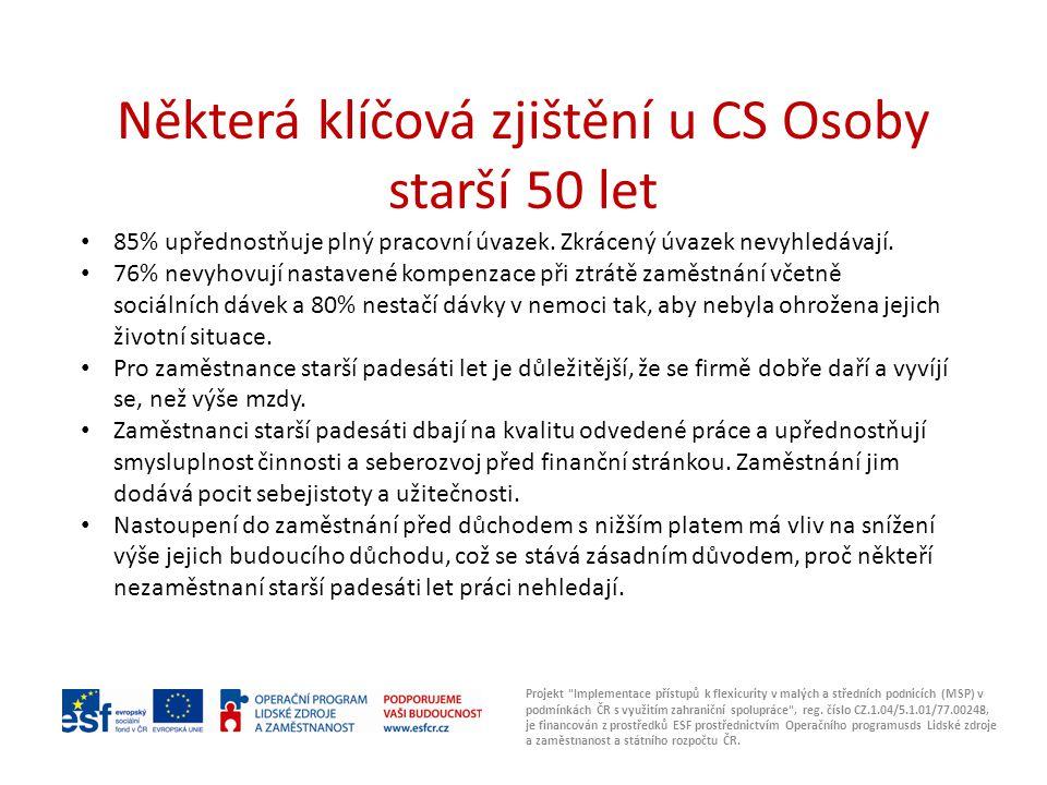 Některá klíčová zjištění u CS Osoby starší 50 let Projekt