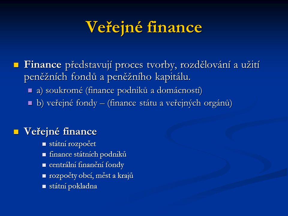 Veřejné finance Finance představují proces tvorby, rozdělování a užití peněžních fondů a peněžního kapitálu.