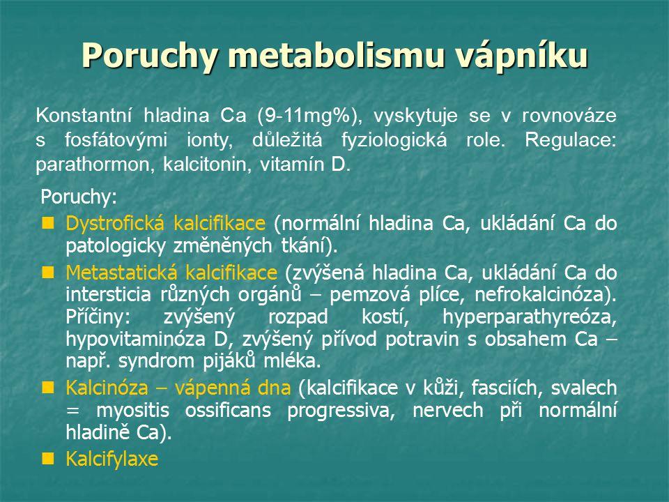 Poruchy metabolismu vápníku Poruchy: Dystrofická kalcifikace (normální hladina Ca, ukládání Ca do patologicky změněných tkání). Metastatická kalcifika