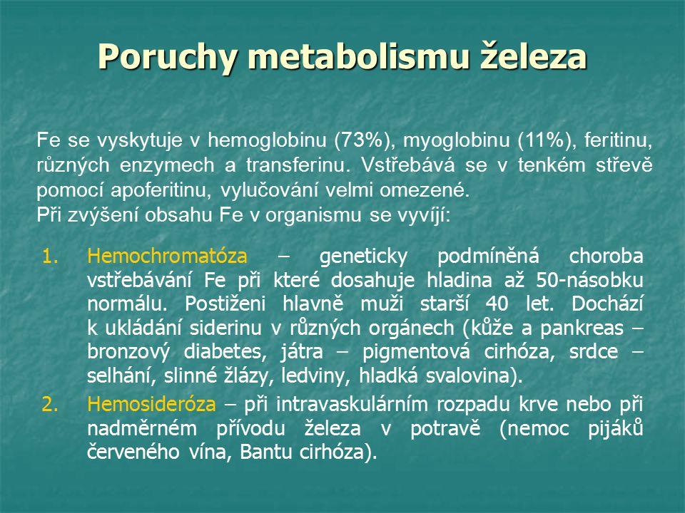Poruchy metabolismu železa 1. 1.Hemochromatóza – geneticky podmíněná choroba vstřebávání Fe při které dosahuje hladina až 50-násobku normálu. Postižen