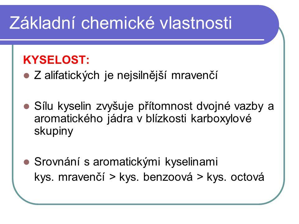 Základní chemické vlastnosti KYSELOST: Z alifatických je nejsilnější mravenčí Sílu kyselin zvyšuje přítomnost dvojné vazby a aromatického jádra v blíz