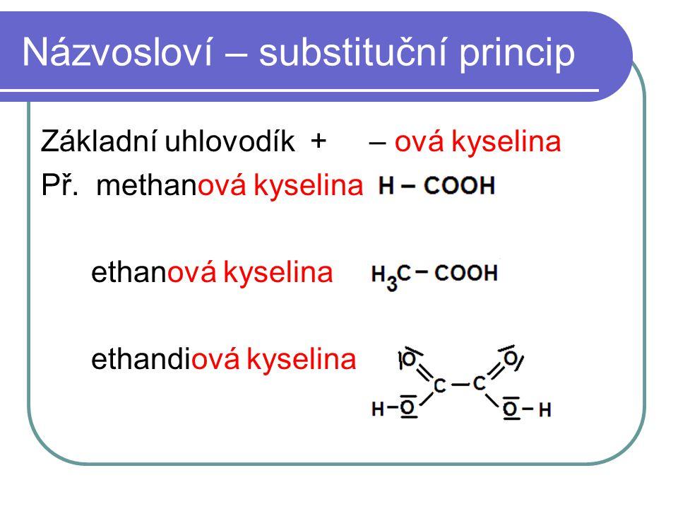 Názvosloví – substituční princip Základní uhlovodík + – ová kyselina Př. methanová kyselina ethanová kyselina ethandiová kyselina