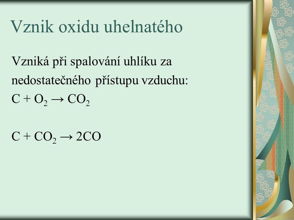Jedovatost oxidu uhelnatého - spočívá v pevné vazbě na hemoglobin, váže se ochotněji než kyslík a zablokuje červené krevní barvivo pro vazbu s kyslíkem.