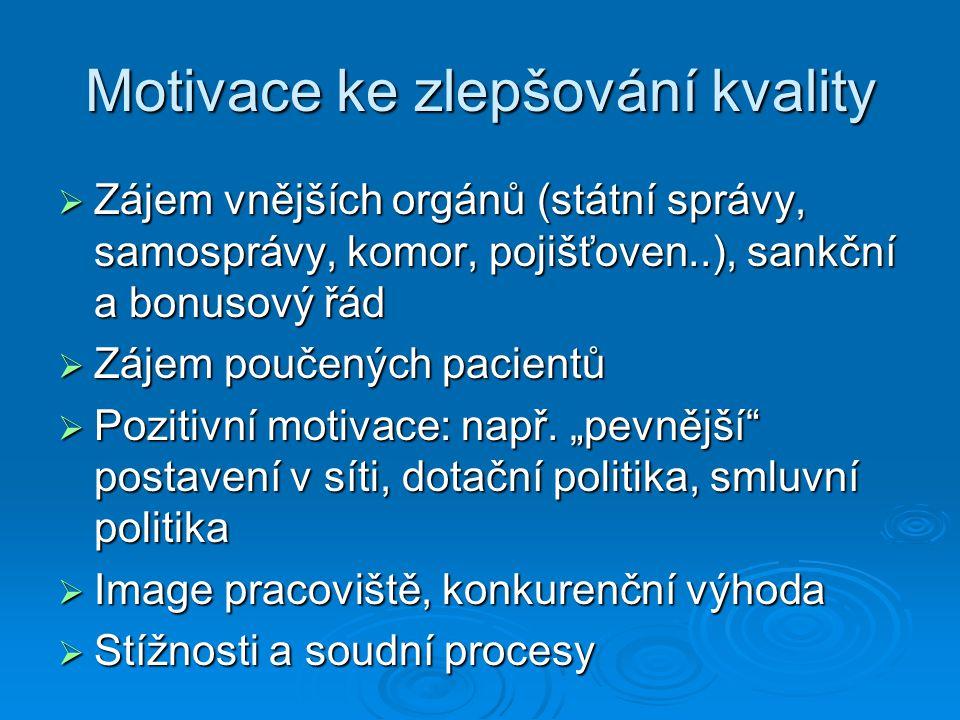 Motivace ke zlepšování kvality  Zájem vnějších orgánů (státní správy, samosprávy, komor, pojišťoven..), sankční a bonusový řád  Zájem poučených pacientů  Pozitivní motivace: např.