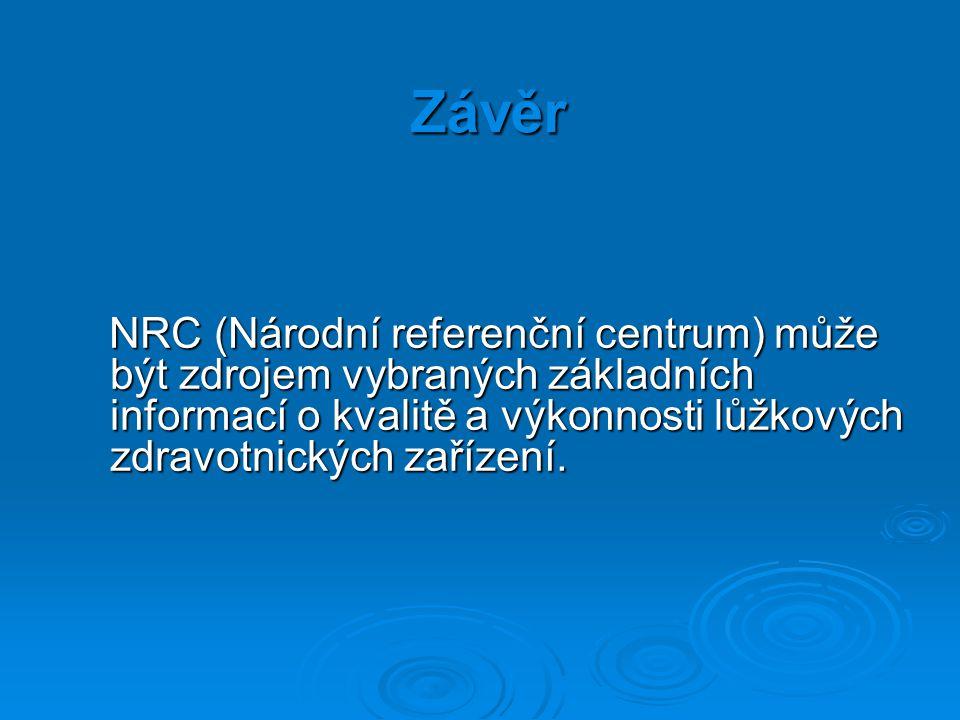 Závěr NRC (Národní referenční centrum) může být zdrojem vybraných základních informací o kvalitě a výkonnosti lůžkových zdravotnických zařízení.
