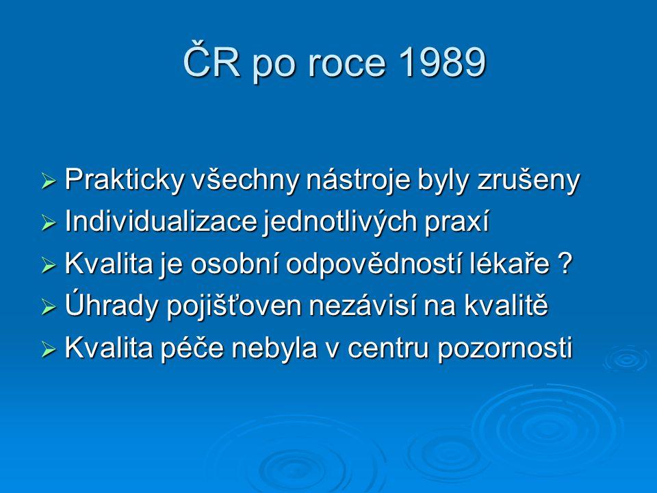 ČR po roce 1989 ČR po roce 1989  Prakticky všechny nástroje byly zrušeny  Individualizace jednotlivých praxí  Kvalita je osobní odpovědností lékaře .