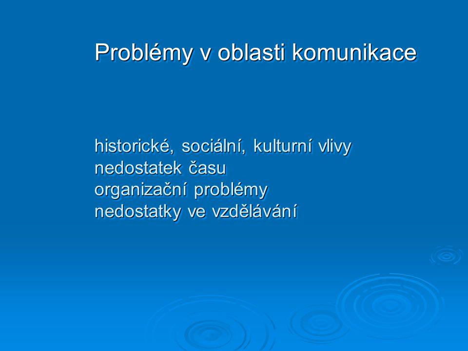  Problémy v oblasti komunikace historické, sociální, kulturní vlivy nedostatek času organizační problémy nedostatky ve vzdělávání