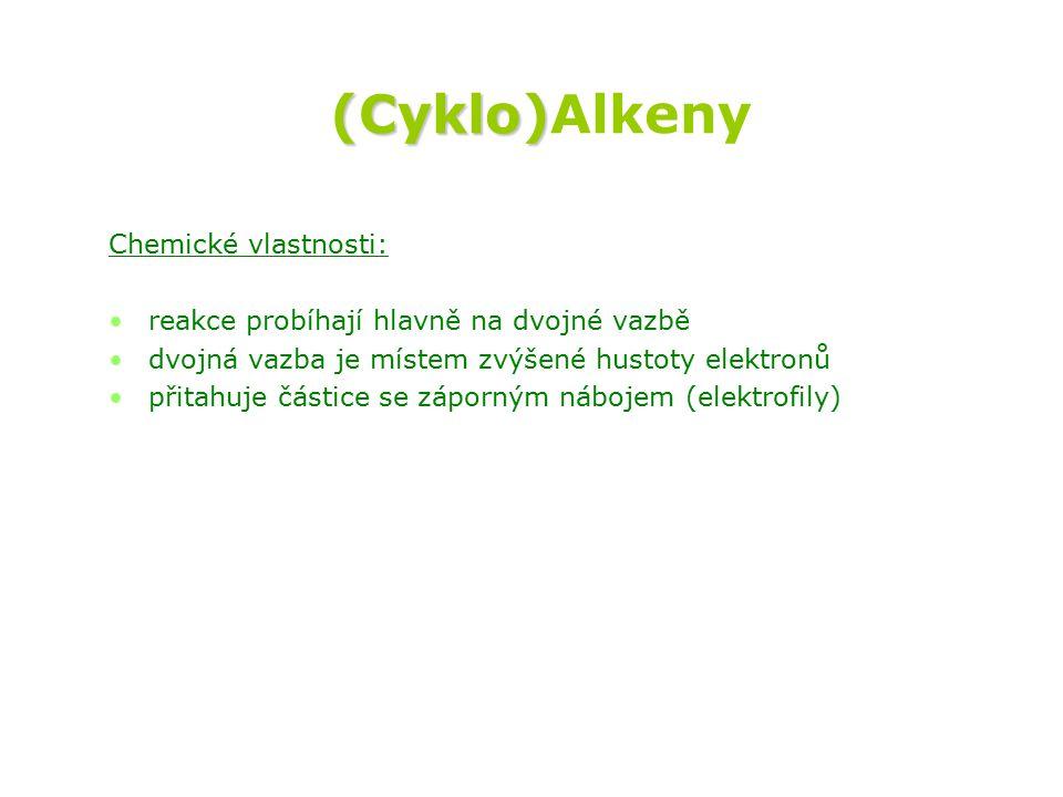 (Cyklo) (Cyklo)Alkeny Chemické vlastnosti: reakce probíhají hlavně na dvojné vazbě dvojná vazba je místem zvýšené hustoty elektronů přitahuje částice se záporným nábojem (elektrofily)