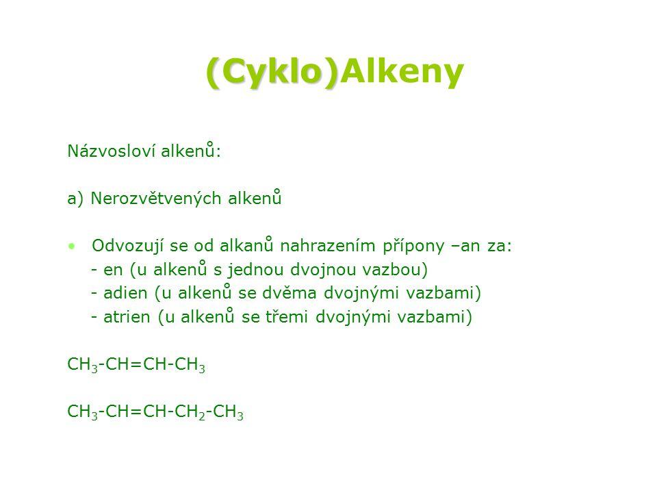 (Cyklo) (Cyklo)Alkeny Názvosloví alkenů: a) Nerozvětvených alkenů Odvozují se od alkanů nahrazením přípony –an za: - en (u alkenů s jednou dvojnou vazbou) - adien (u alkenů se dvěma dvojnými vazbami) - atrien (u alkenů se třemi dvojnými vazbami) CH 3 -CH=CH-CH 3 CH 3 -CH=CH-CH 2 -CH 3