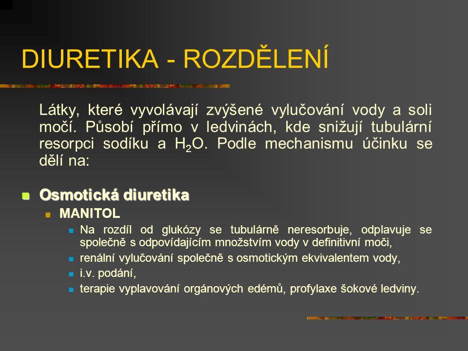 DIURETIKA - ROZDĚLENÍ Látky, které vyvolávají zvýšené vylučování vody a soli močí.