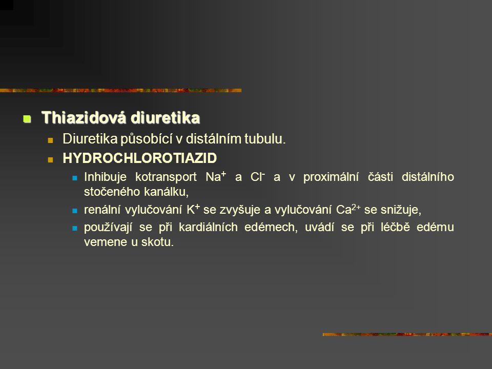 Thiazidová diuretika Thiazidová diuretika Diuretika působící v distálním tubulu. HYDROCHLOROTIAZID Inhibuje kotransport Na + a Cl - a v proximální čás