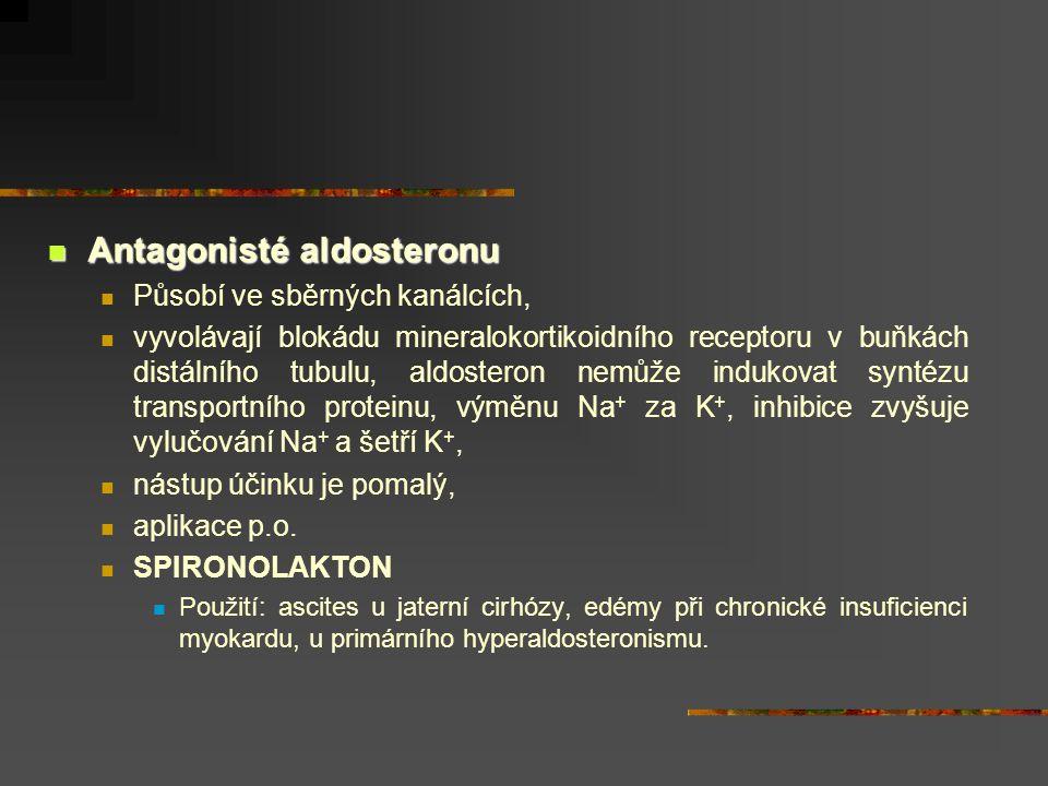 Antagonisté aldosteronu Antagonisté aldosteronu Působí ve sběrných kanálcích, vyvolávají blokádu mineralokortikoidního receptoru v buňkách distálního