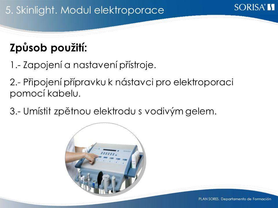 PLAN SORES.Departamento de Formación Způsob použití: 1.- Zapojení a nastavení přístroje.