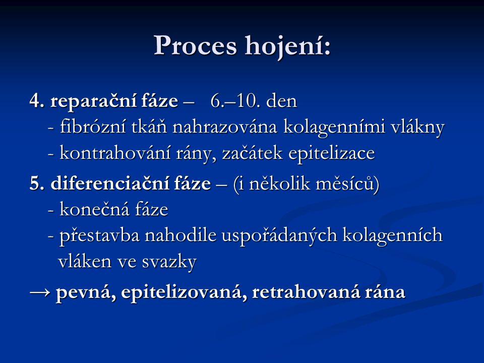 Proces hojení: 4. reparační fáze – 6.–10. den - fibrózní tkáň nahrazována kolagenními vlákny - kontrahování rány, začátek epitelizace 5. diferenciační